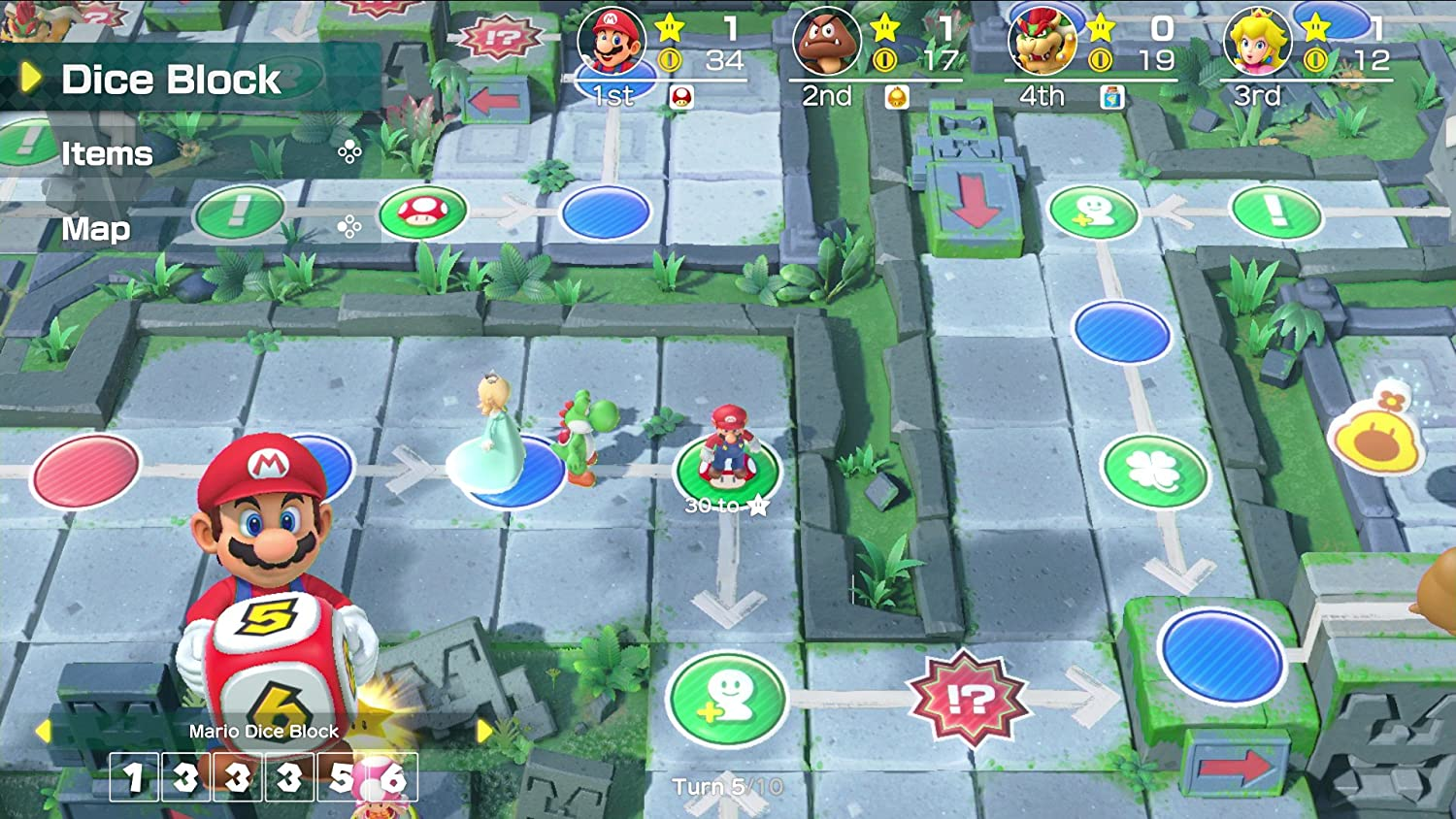 "A screenshot from Super Mario Party showing a virtual game board. Mario is holding a die above a graphic that says ""Mario Dice Block 133356."" Characters are lined at the top of the screen showing ranks. A menu reads Dice Block, Items, and Map."