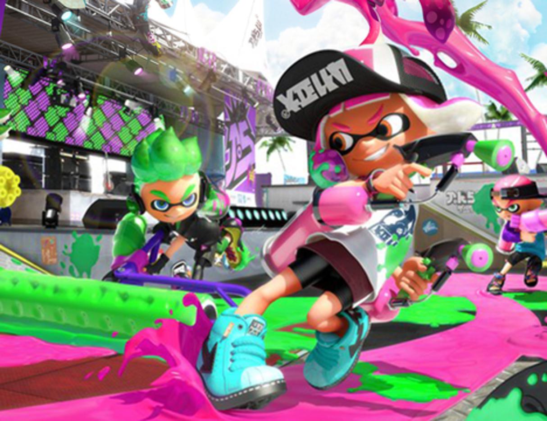 Three cartoon characters splash green and pink ink around an urban setting