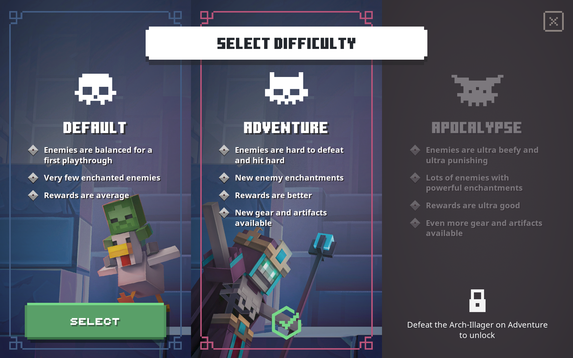 Minecraft Dungeons difficulty selection screen