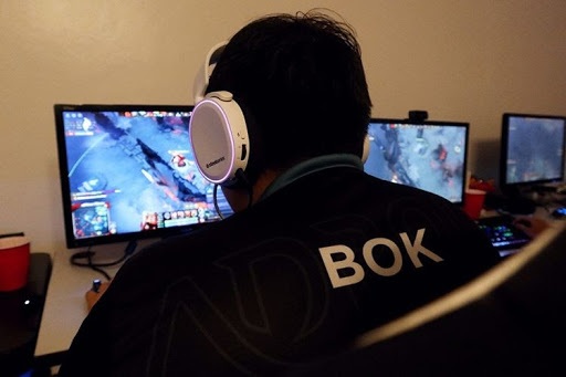 """Player """"Bok"""" sitting at a desk playing Dota 2 wearing a SteelSeries headset"""