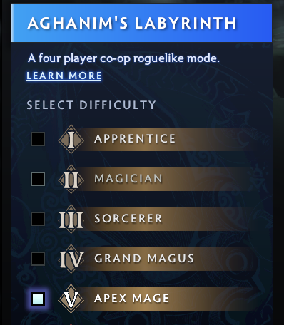 5 difficulties of Aghanim's Labyrinth, from Apprentice to Apex Mage