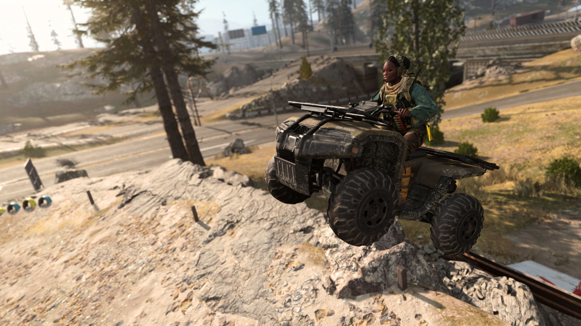 In-game footage from Warzone of a character riding an ATV