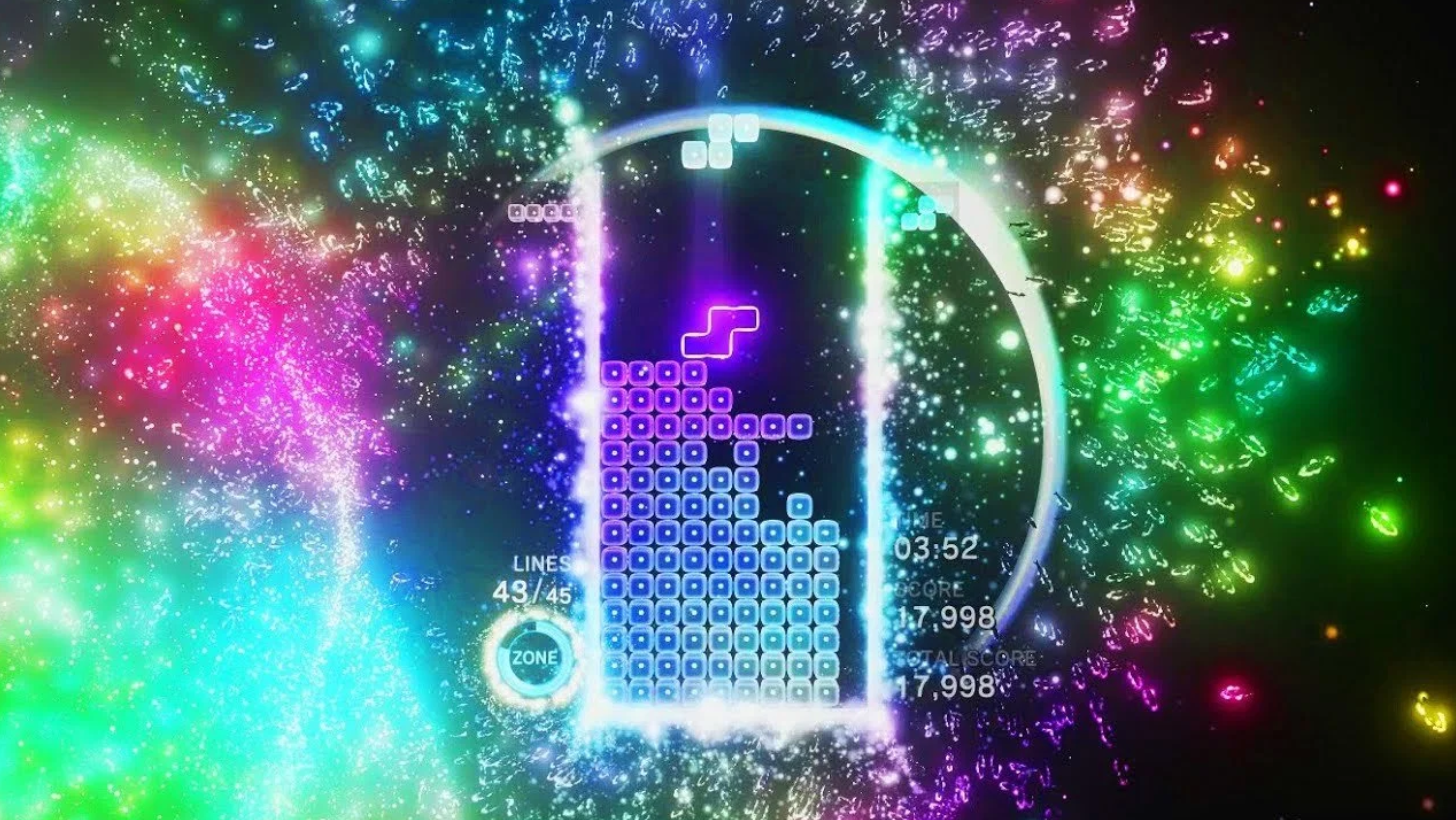 One of the colorful scenes in Tetris Effect: Connected.