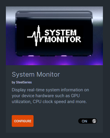SteelSeries Engine System Monitor which displays real-time system info on the Apex OLED screen