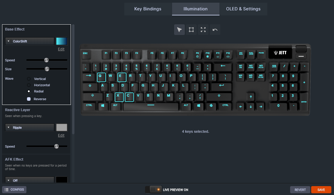 SteelSeries Apex 5 Engine customization showing a Jett-themed layout and effects