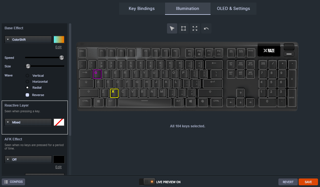 SteelSeries Apex 5 Engine customization showing a Reyna-themed layout and effects