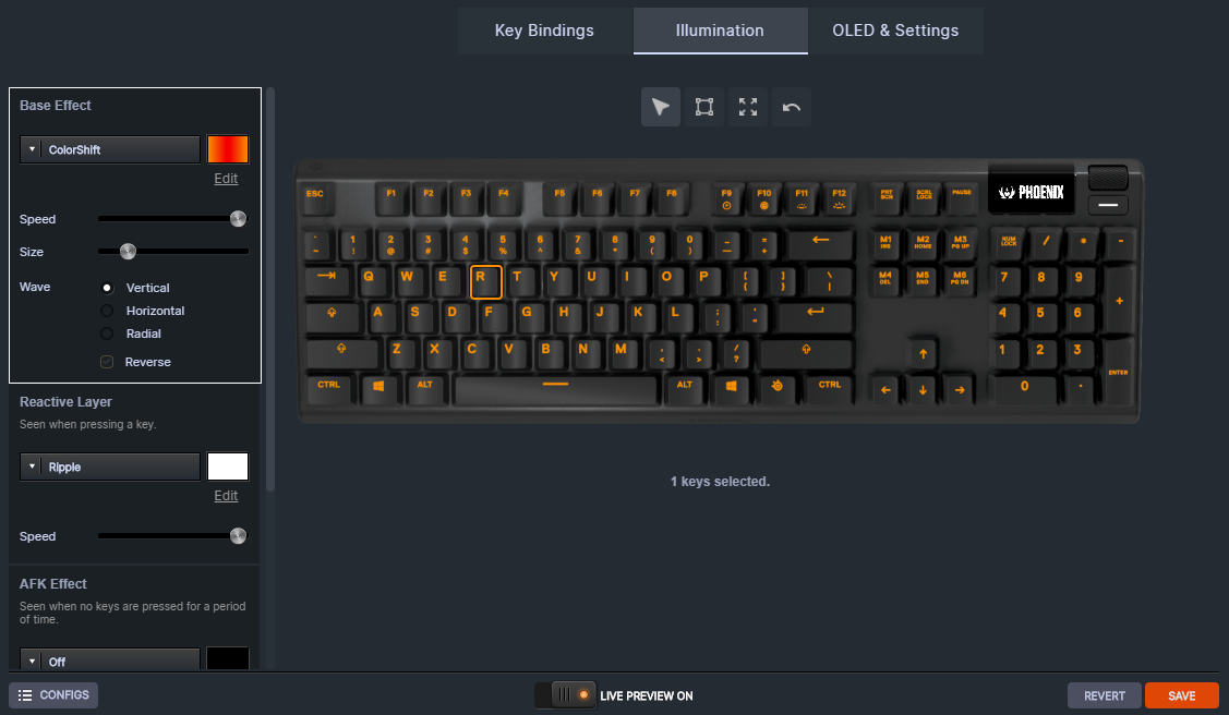 SteelSeries Apex 5 Engine customization showing a Phoenix-themed layout and effects