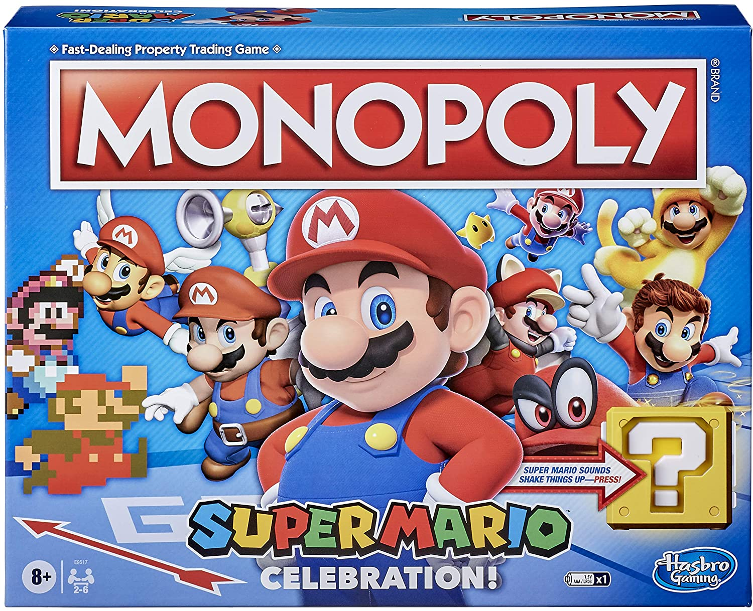 The bright and colorful box showing off the Super Mario Celebration Edition, with tons of Marios.