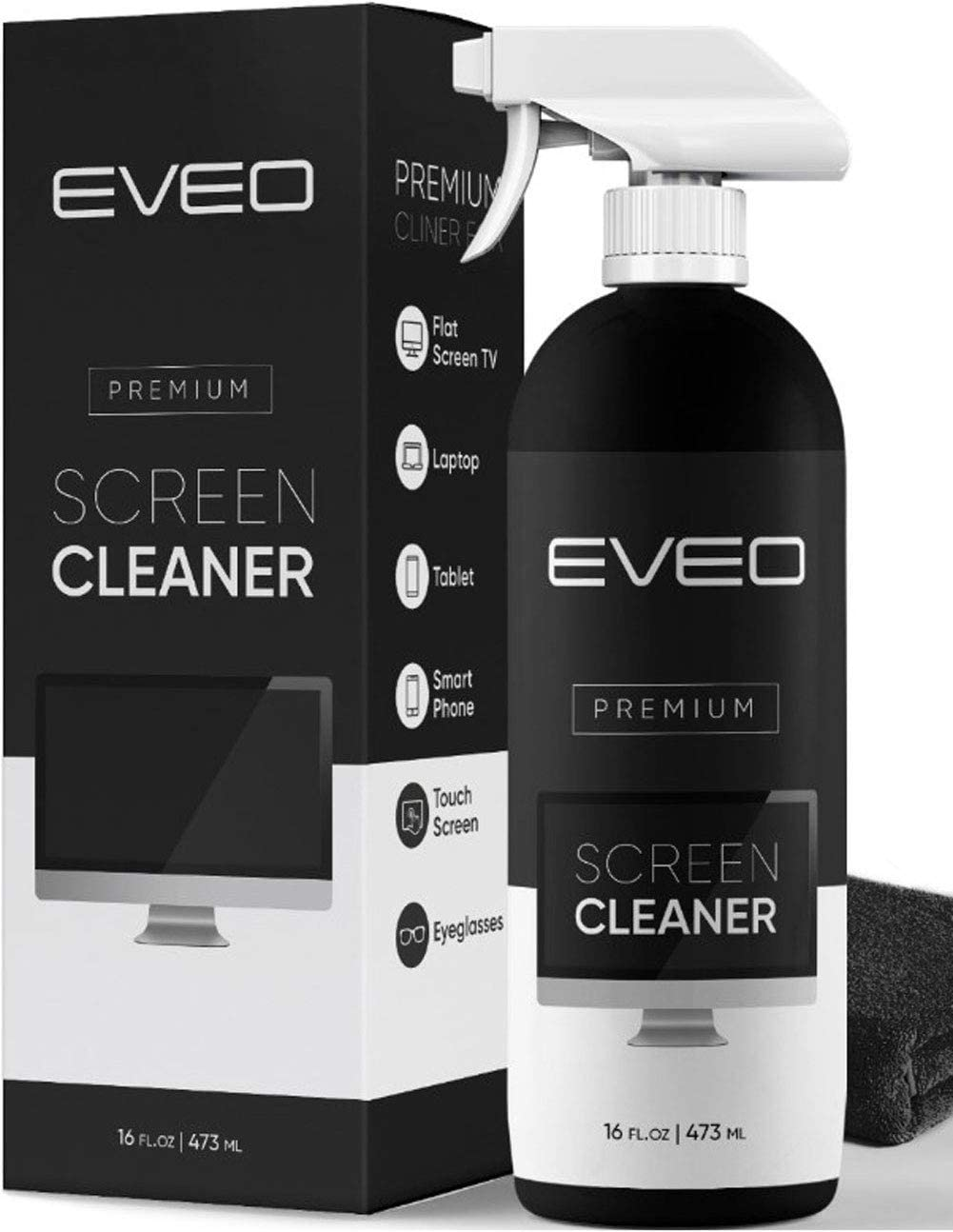 A bottle of EVEO Screen Cleaner Spray near its packaging.