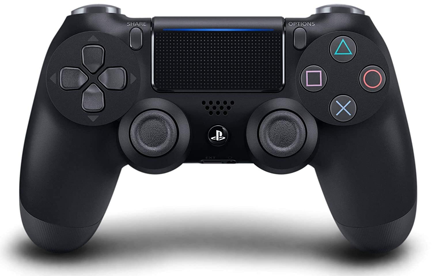 The classic PlayStation 4 DualShock 4 controller in a glossy black color.