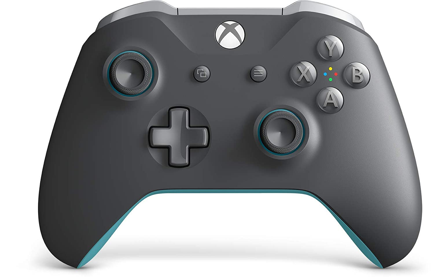 The Xbox Wireless Controller in a gray and light blue colorway.