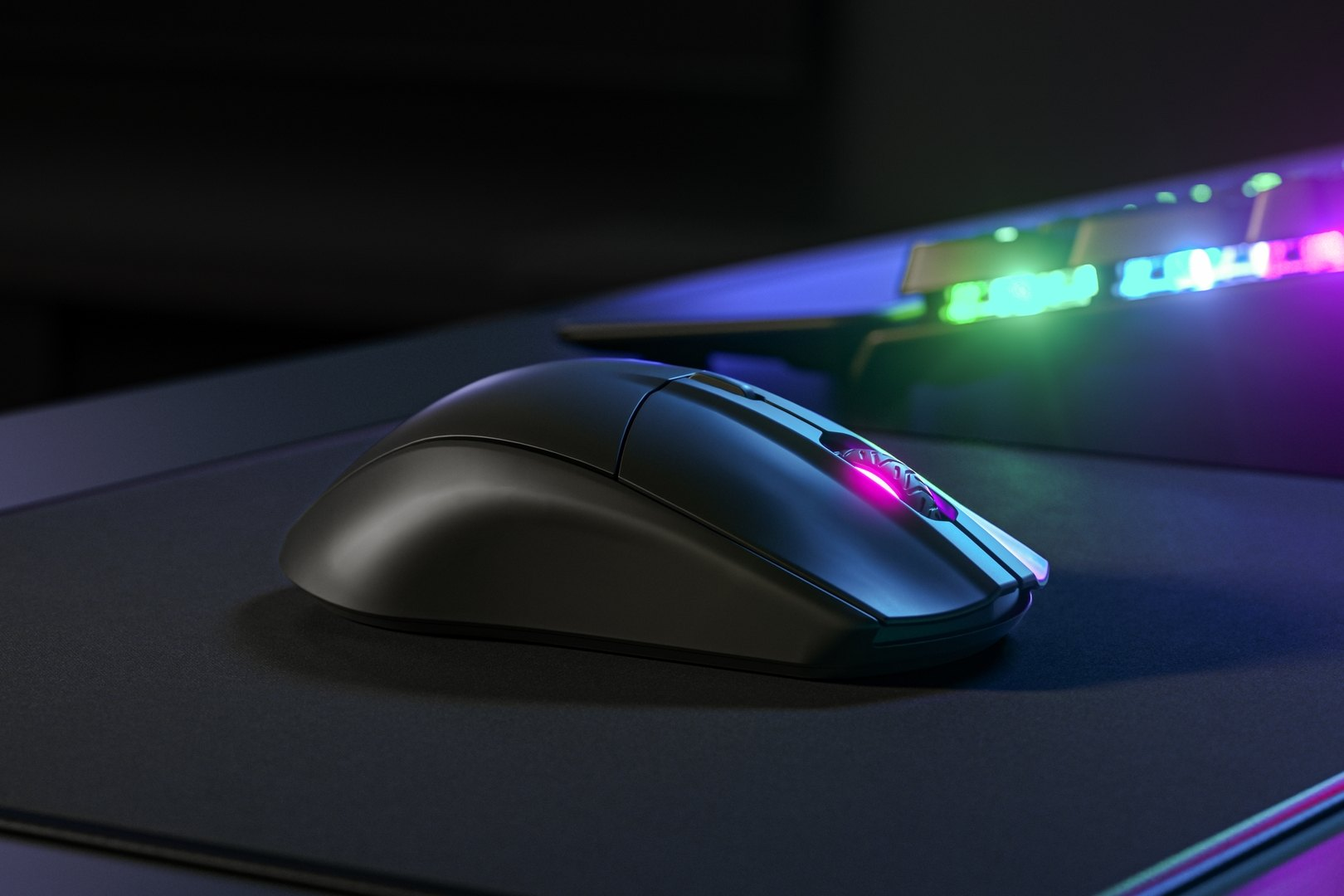 A close-up at how the Rival 3 mouse would look on a lucky gamer's desk.