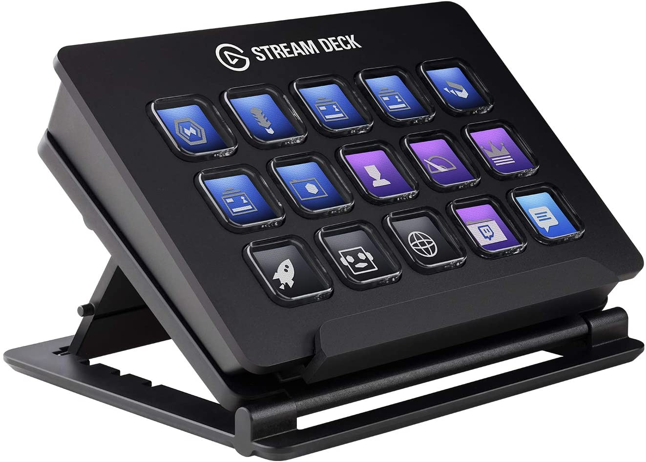 The Elgato Stream Deck up close and personal, with plenty of buttons to customize.