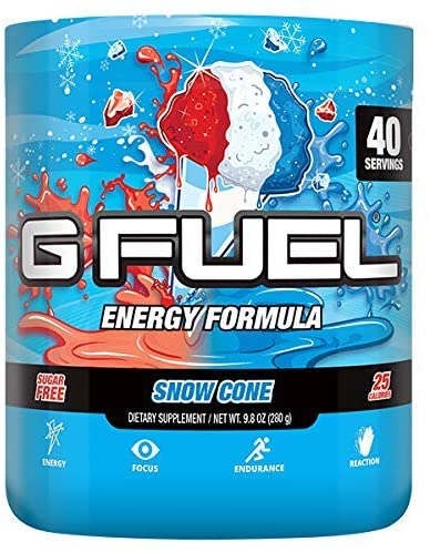 A tub of the G Fuel Snow Cone flavor.