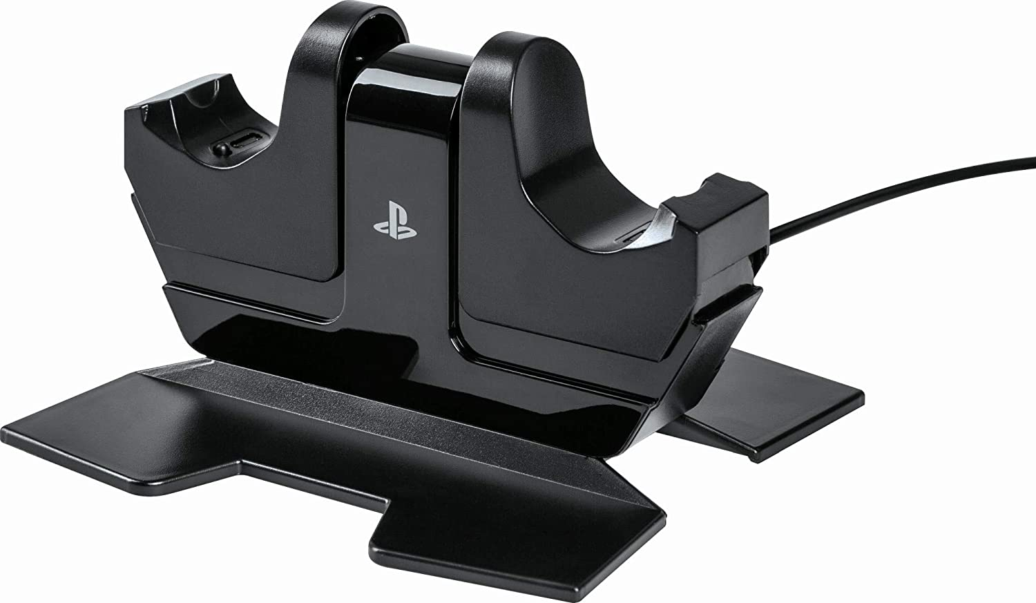 A close-up of the PowerA DualShock Charging Station, with a PlayStation logo in the middle.