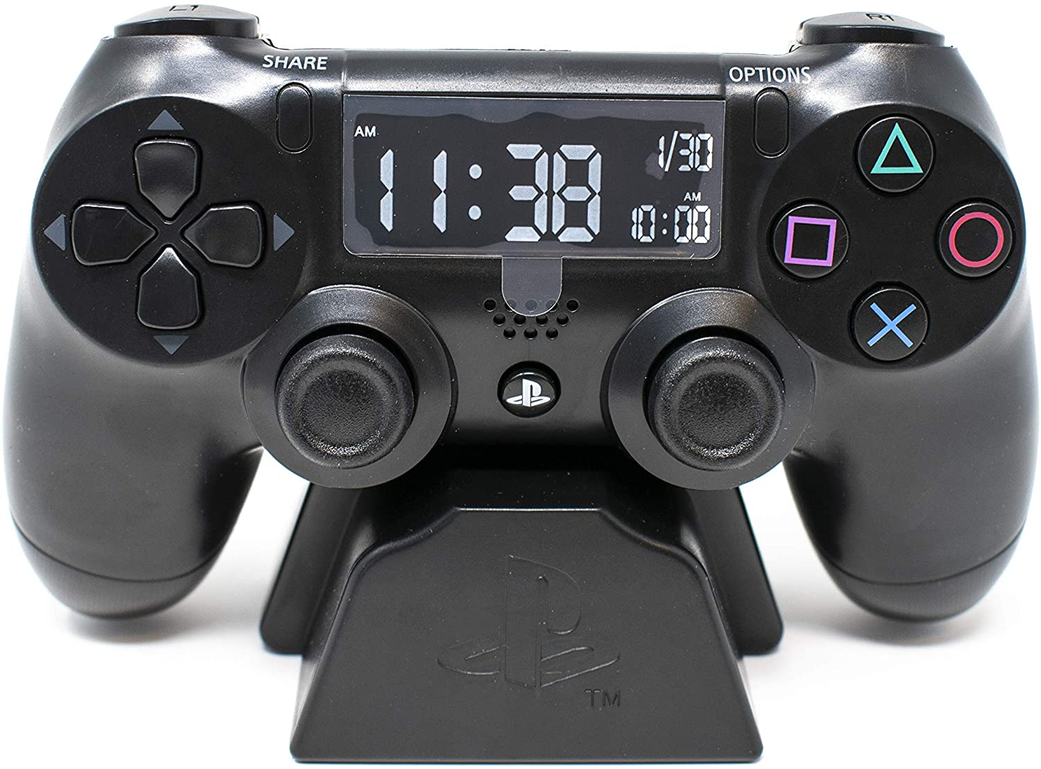 A front look at the PlayStation Controller alarm clock.