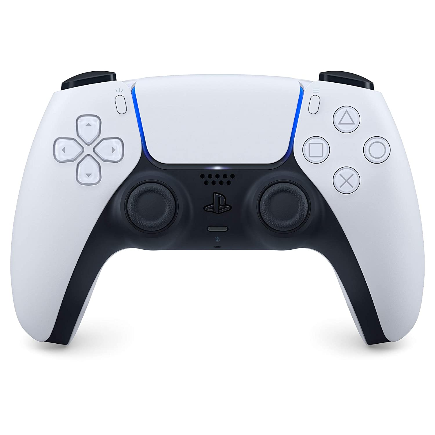 A front view of the DualSense controller, with its matte white and black body.