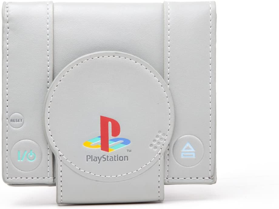 A look at the PlayStation wallet from the front, showing it folded all the way up.