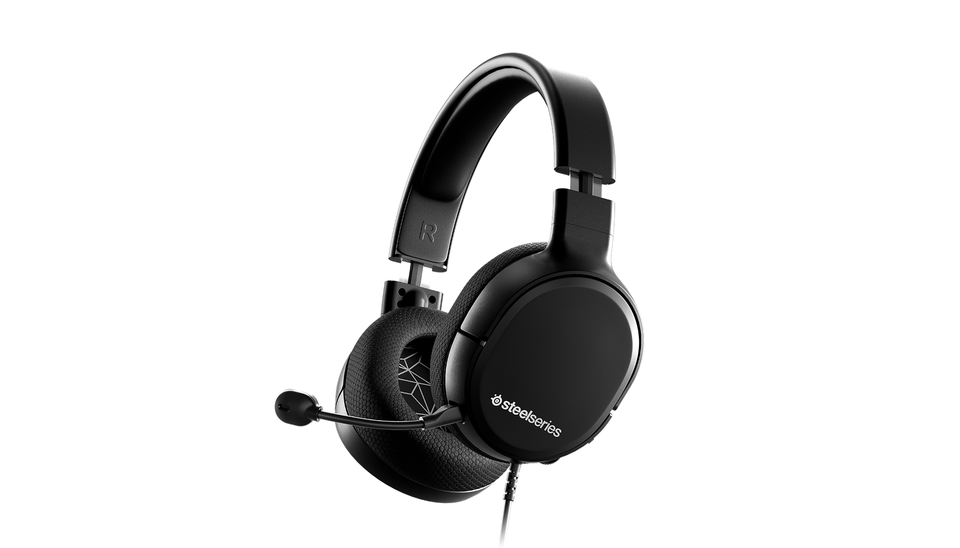 A side view of the black Arctis 1 headset that really looks like it might have caught the headset's good side.