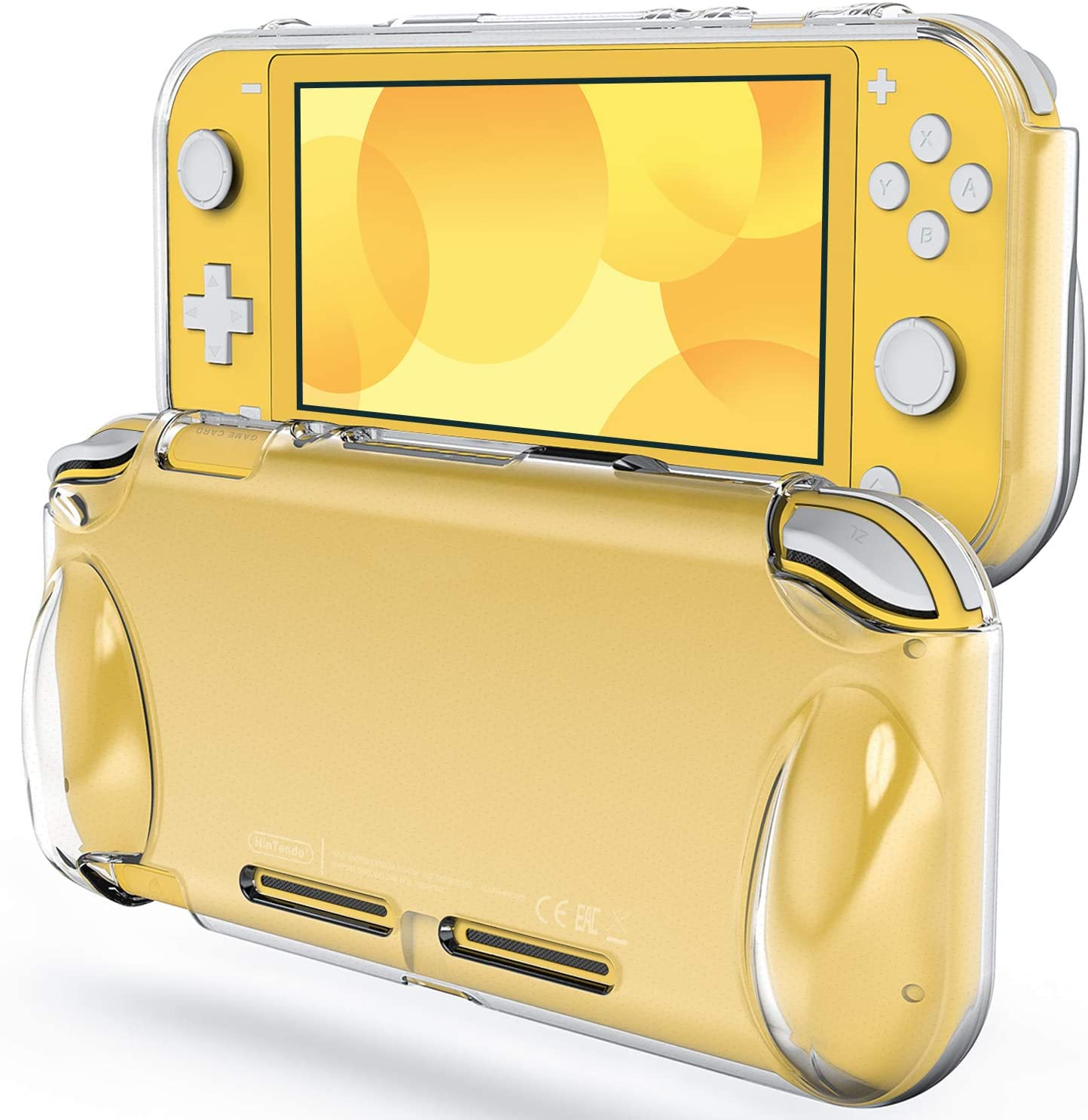 A look at the front and back of a Switch Lite with the case on it.