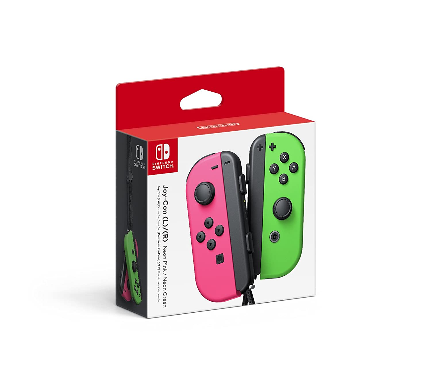 A pair of Joy-Con controllers in bright green and pink.
