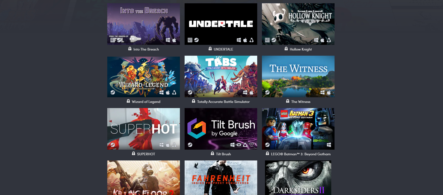 A screenshot from the Humble Conquer COVID-19 Bundle page, including game titles Into the Breach, Undertale, Hollow Knight, Wizard of Legends, Totally Accurate Battle Simulator, The Witness, Superhot, Tilt Brush, Batman 3: Beyond Gothen, Killing Floor, Fahrenheit Indigo Prophecy Remastered, and Darksiders II