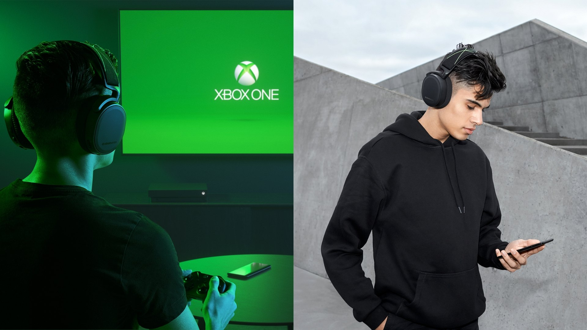 "Split image of a man playing Xbox One waring Arctis 9X headphones and a man outside holding his phone wearing the same headphones. Text says ""Wireless everywhere."""