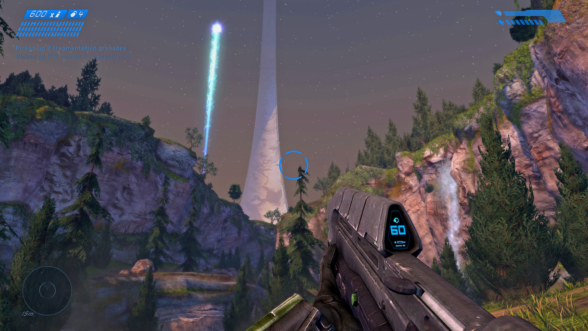 A view from first-person mode in a classic map, with the player armed with a battle rifle.
