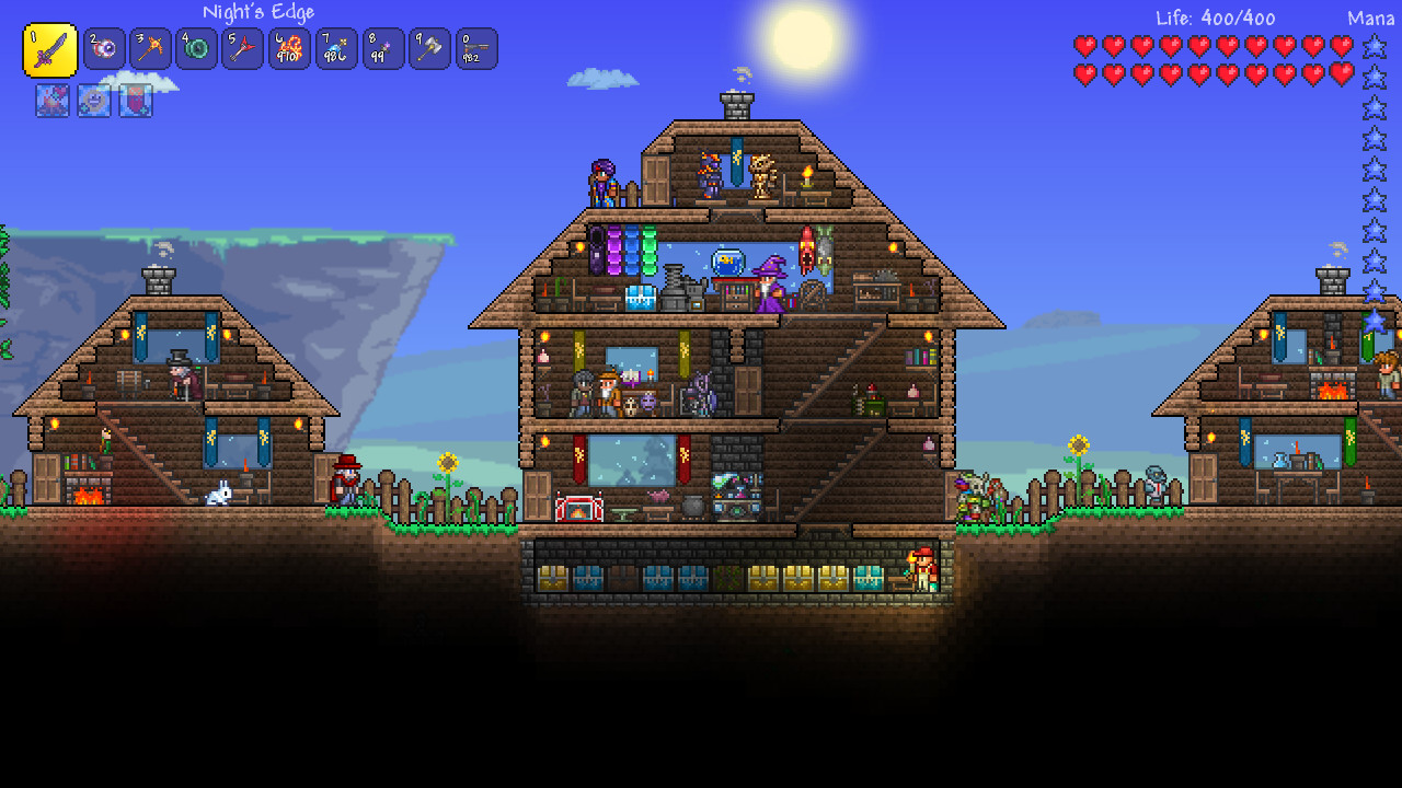 Characters hang out in their homes in the unforgiving world of Terraria.