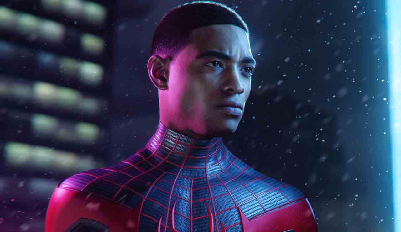 Miles Morales, the new Spider-Man in this adventure, looks off, ready to websling into business.