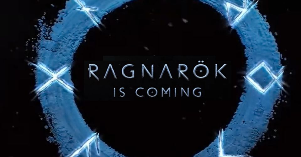 "The teaser image for the upcoming God of War game stating ""Ragnarok is Coming."""