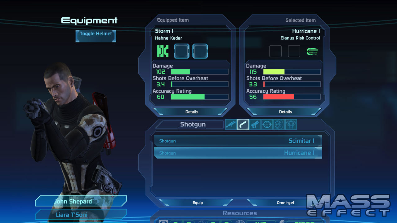 The character menu from Mass Effect with Shepard waiting to be customized.
