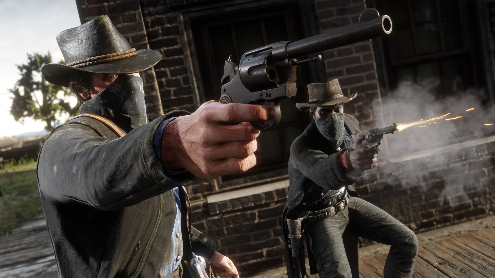 Arthur and one of the Van der Linde Gang take part in a robbery.