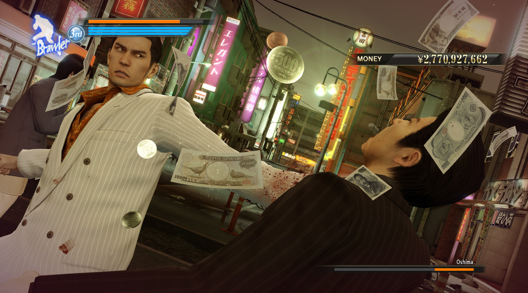 Kazuma Kiryu is absolutely decking a street thug while looking cool doing it.
