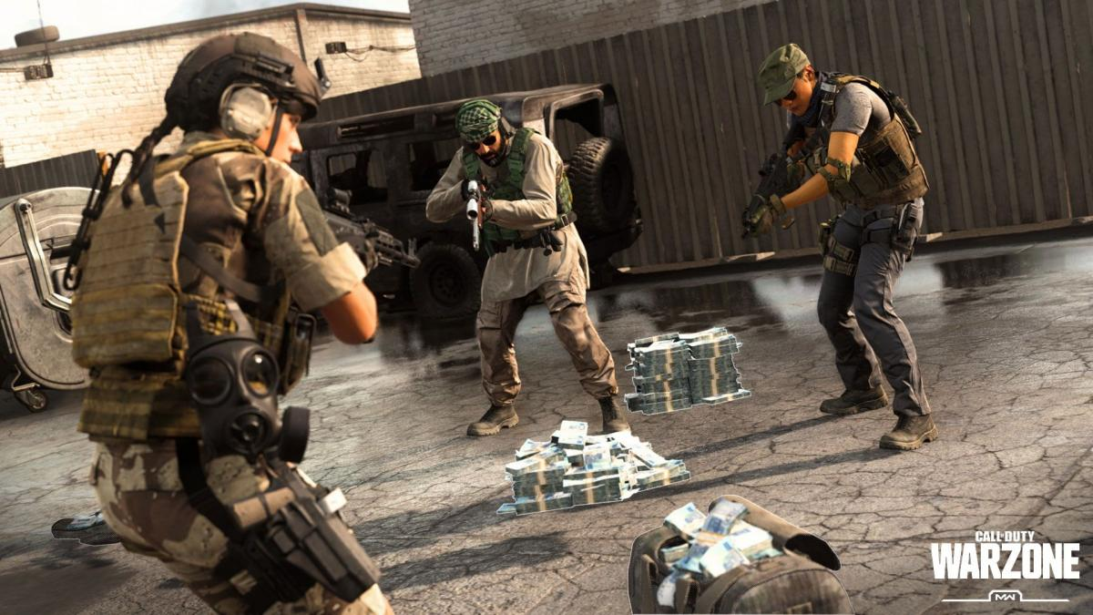 "Three soldiers stand around holding rifles pointed down, looking at two piles of money and a duffle bag full of money. A logo reads ""Call of Duty Warzone, MW"""