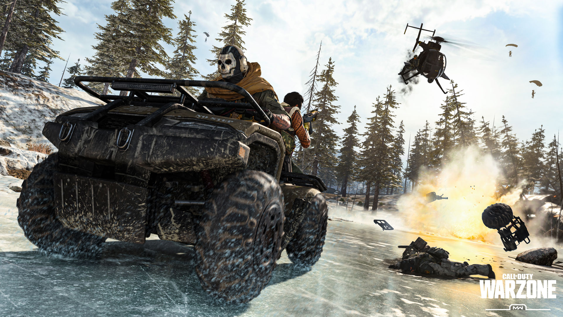 "A soldier wearing a skull mask drives an ATV over a frozen lake in the woods. A heavily tattooed soldier sits behind him, firing at a helicopter in pursuit. Two parashooting soldiers are silhouetted against the sky. There is a large explosion and a soldier's body laying on the ice. A logo reads ""Call of Duty Warzone, MW"""