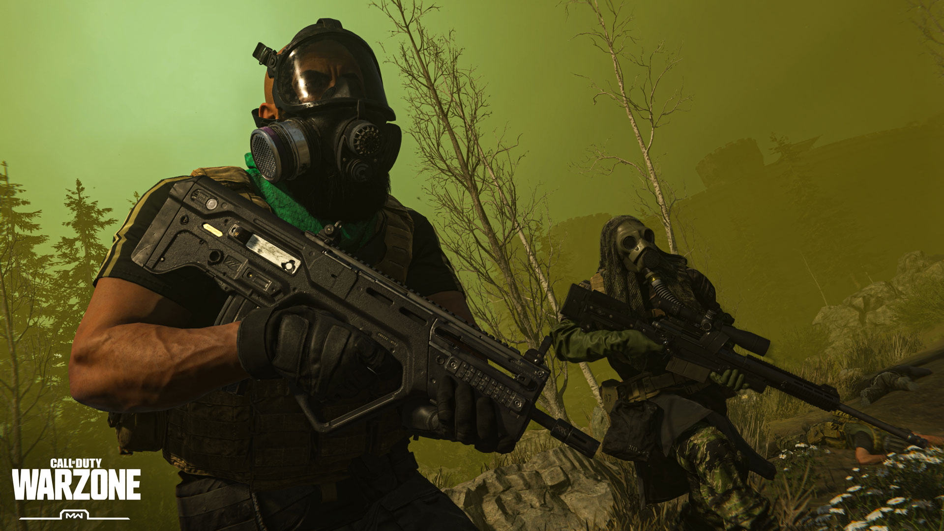 "Two soldiers wearing gas masks and holding firearms, stand in a haze of green gas. A logo reads ""Call of Duty Warzone, MW"""