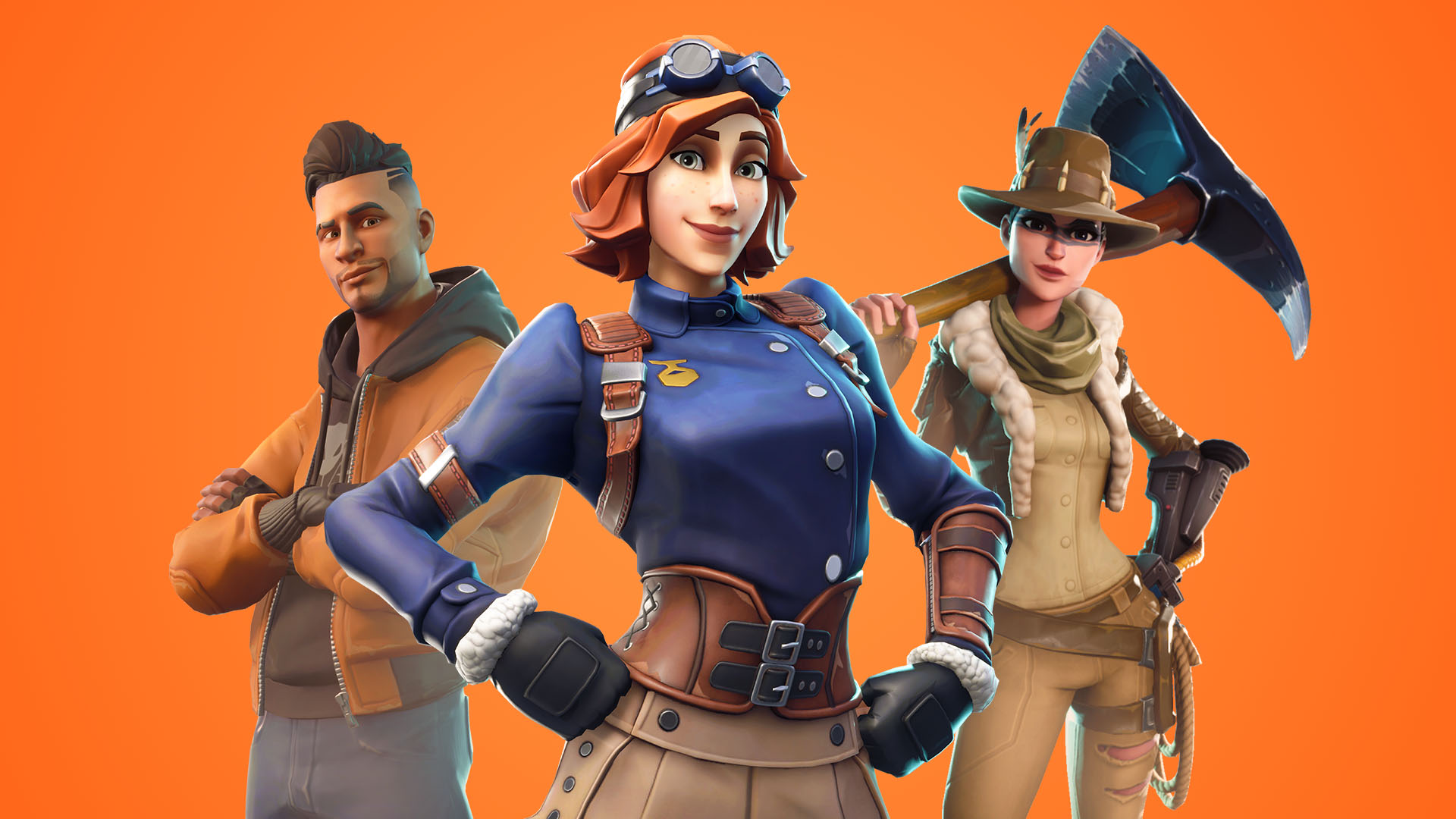 A trio of Fortnite characters pose in front of a bold orange background.