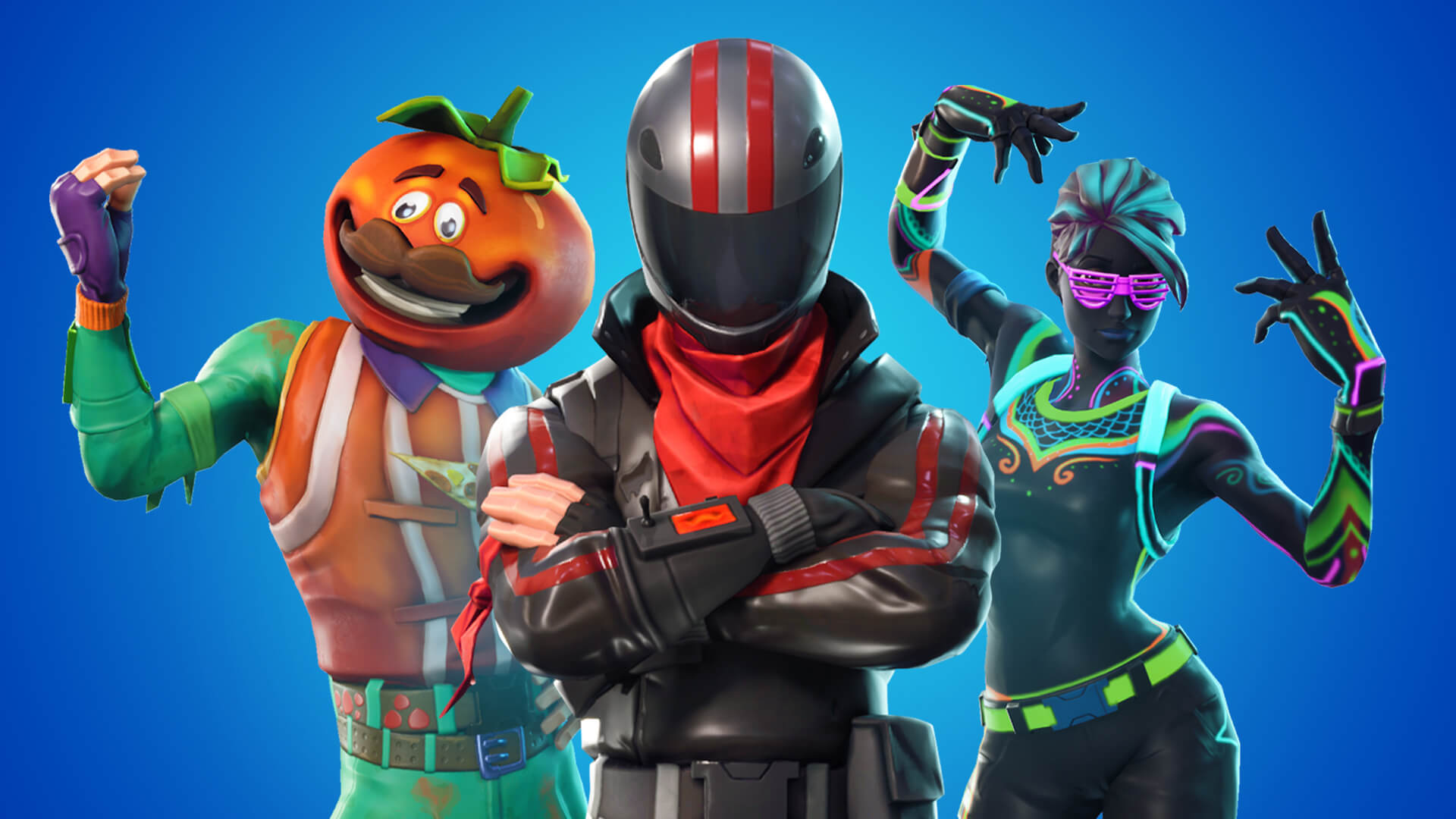 Three colorful characters from Fortnite pose in front of a striking blue background.