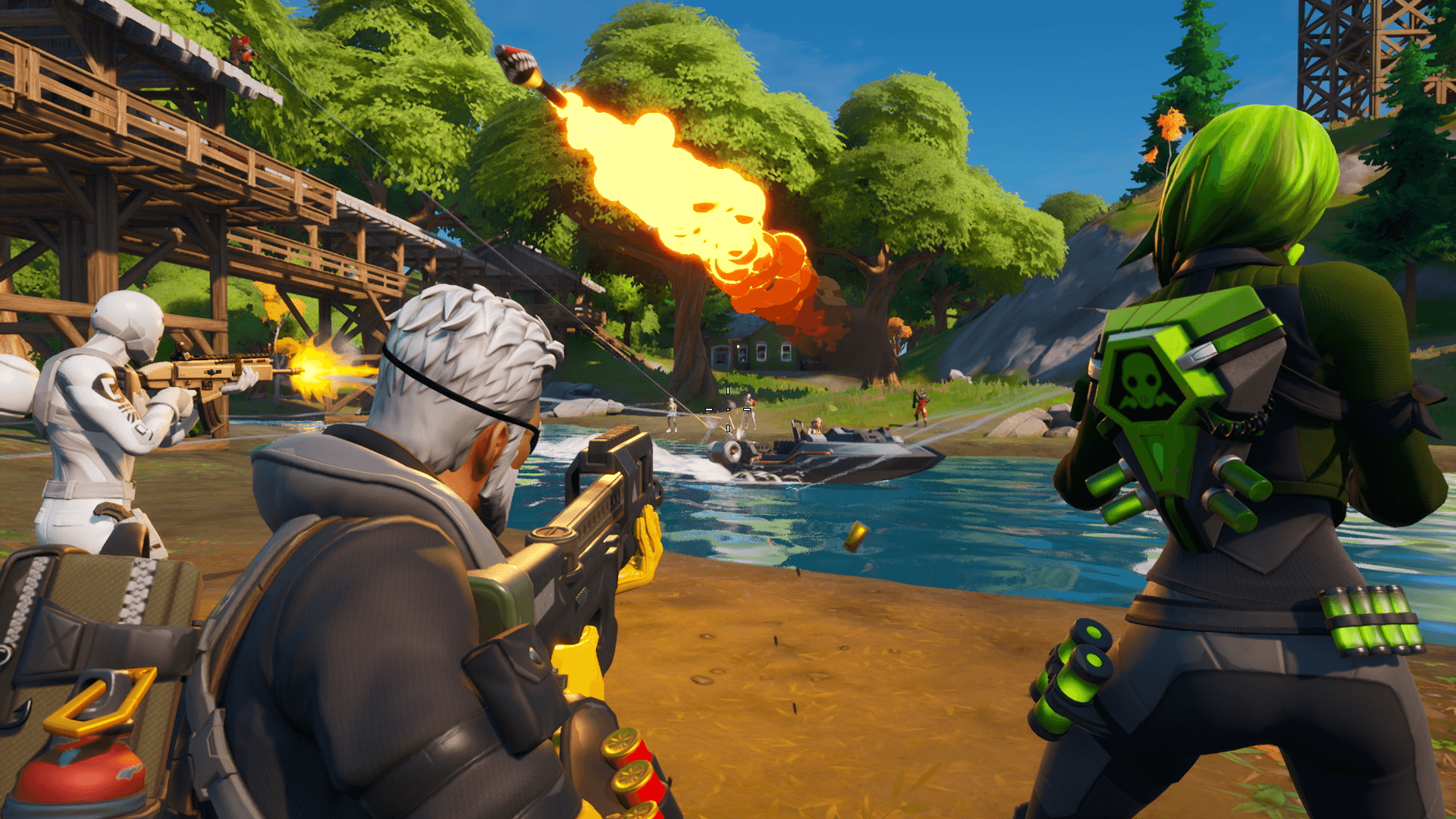 A Fortnite squad fires at enemies on a boat in a lakeside showdown.