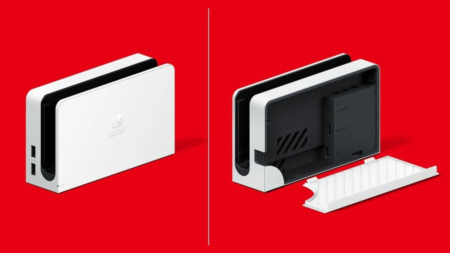 A closer look at the new Switch OLED version's dock.