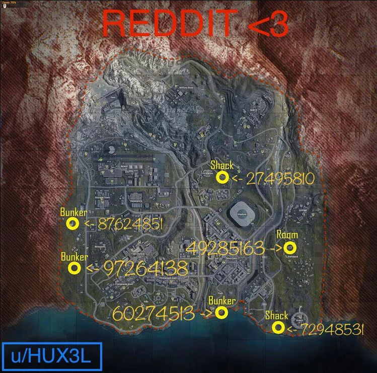 "Warzone map showing 6 bunker locations and their keypad codes, listed counterclockwise ""87624851, 97264138, 60274513, 72948531, 49285163, 27495810"", plus a caption that says ""REDDIT <3"" and ""u/HUX3L"""