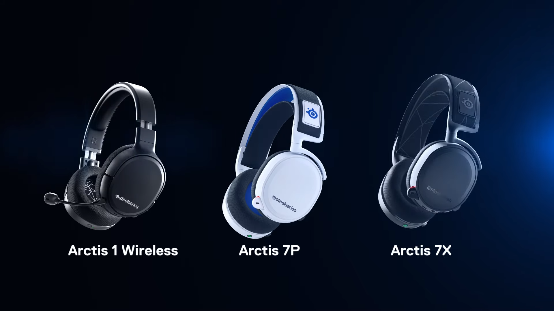 A selection of Arctis 1 Wireless, Arctis 7P, and Arctis 7X headsets.