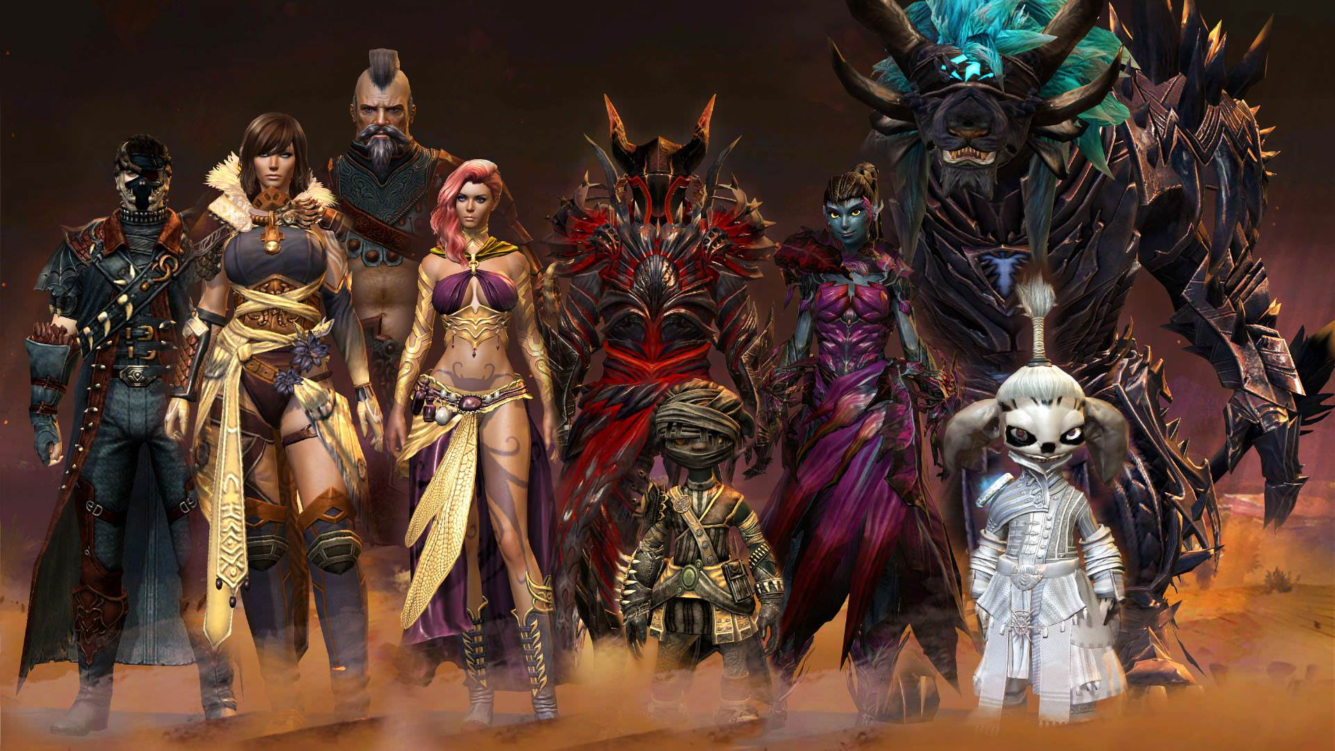 A selection of some of the classes in Guild Wars 2 that you can choose from.