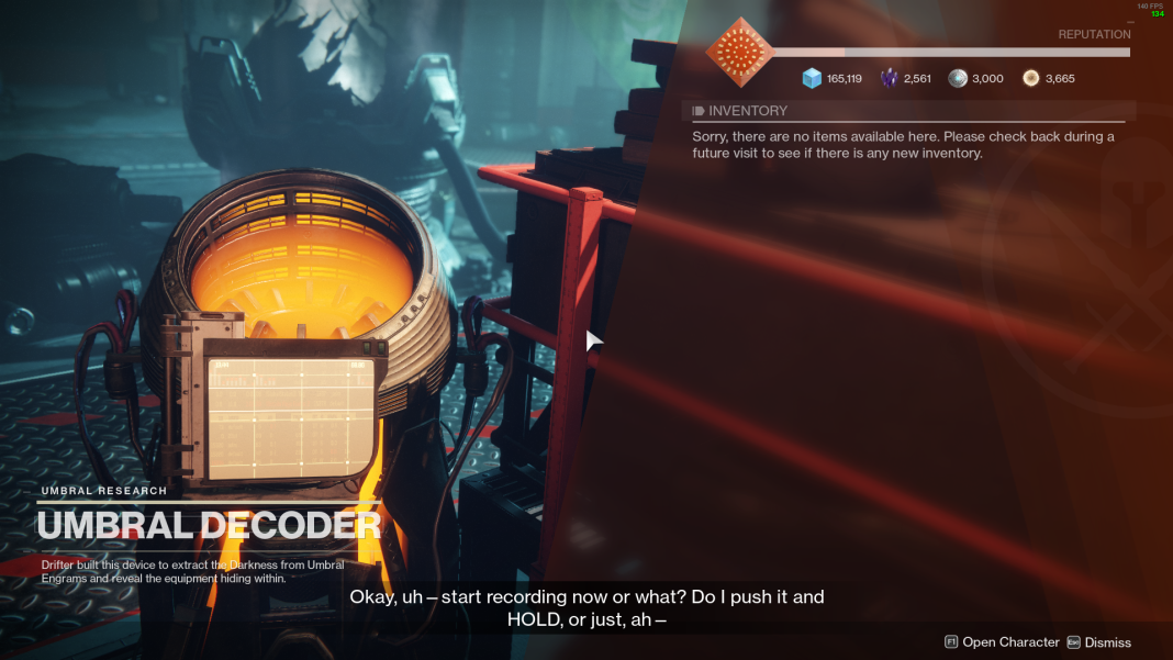 "Destiny 2's Umbral Decoder, which reads ""Drifter built this device to extract the Darkness from Umbral Engrams and reveal the equipment hiding within"""