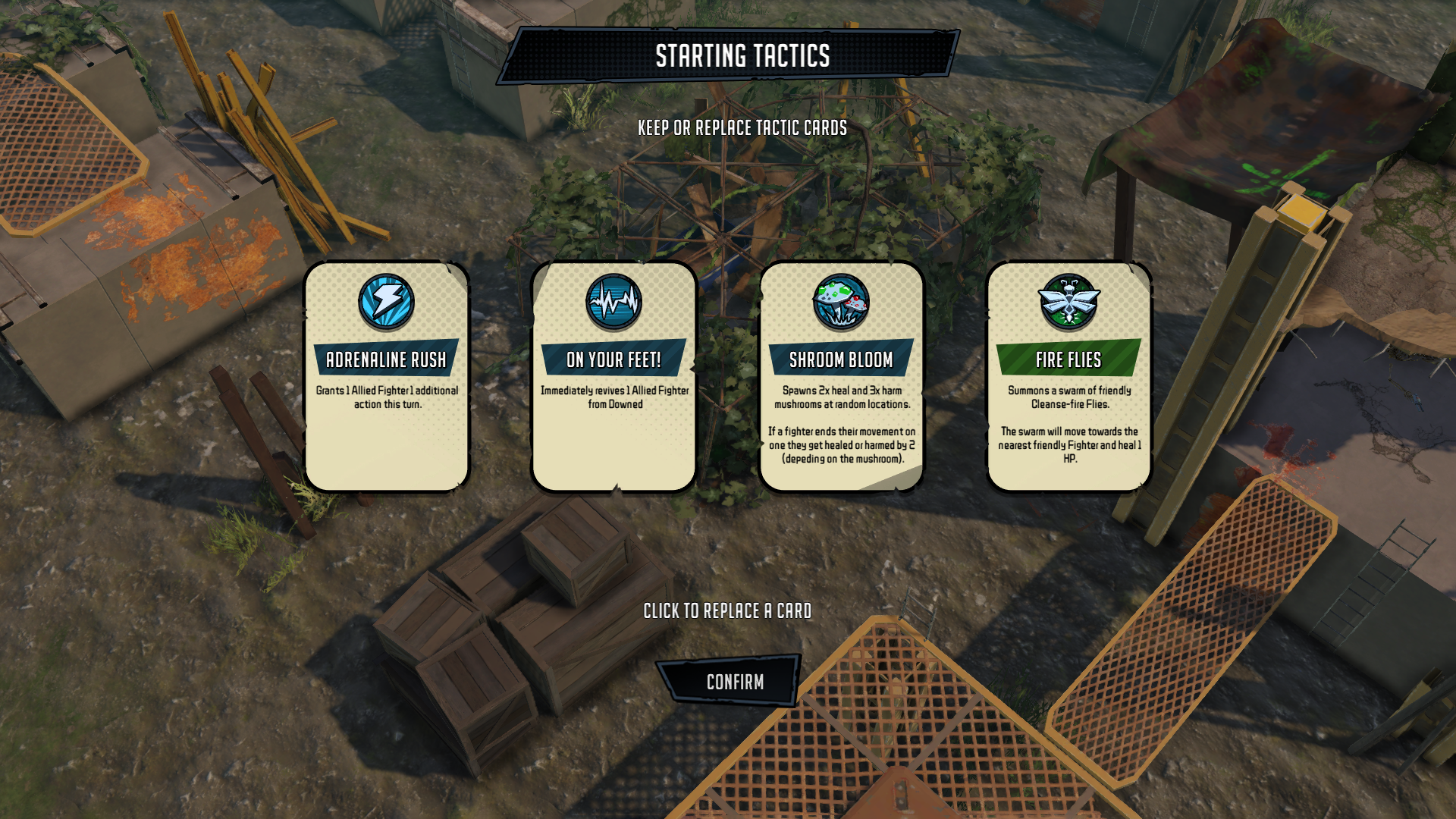 "In-game screenshot from Dreadlands that reads ""STARTING TACTICS"" and displays 4 card options for ""ADRENALINE RUSH"", ""ON YOUR FEET"", ""SHROOM BLOOM"", AND ""FIRE FLIES"""