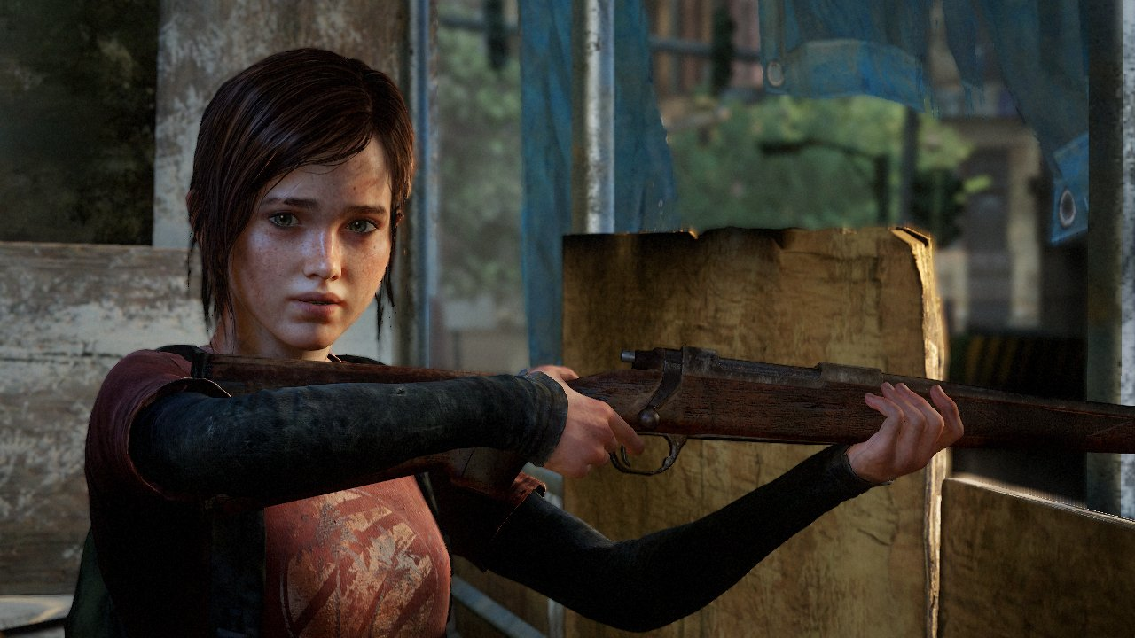 Young Ellie looks unsure of herself as she holds a rifle.