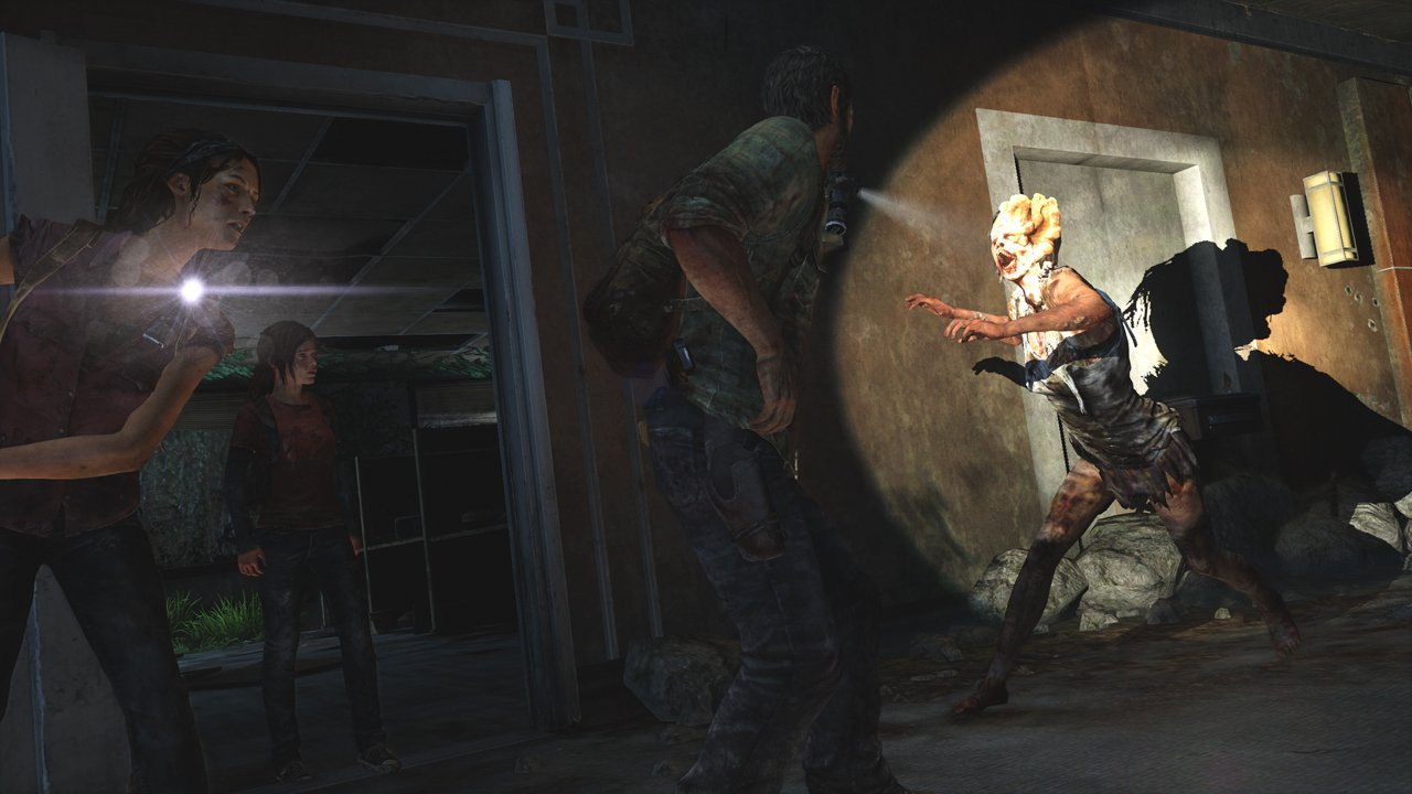 Joel and Ellie ready themselves to destroy an Infected that's illuminated by spotlight.