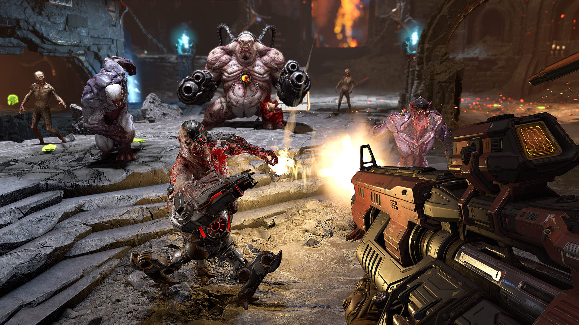 A hellish, stony room is viewed from the first person as a large gun fires on six demons of various appearances.