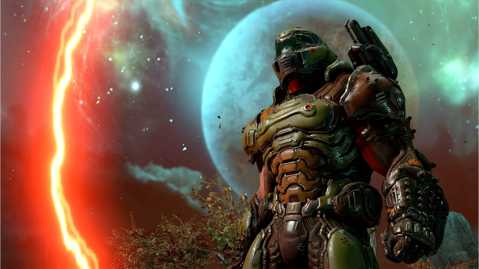 Doom Guy, the armored protagonist of the DOOM franchise, stands with a full moon behind him. A red flash of energy and swirling lines fill the sky.